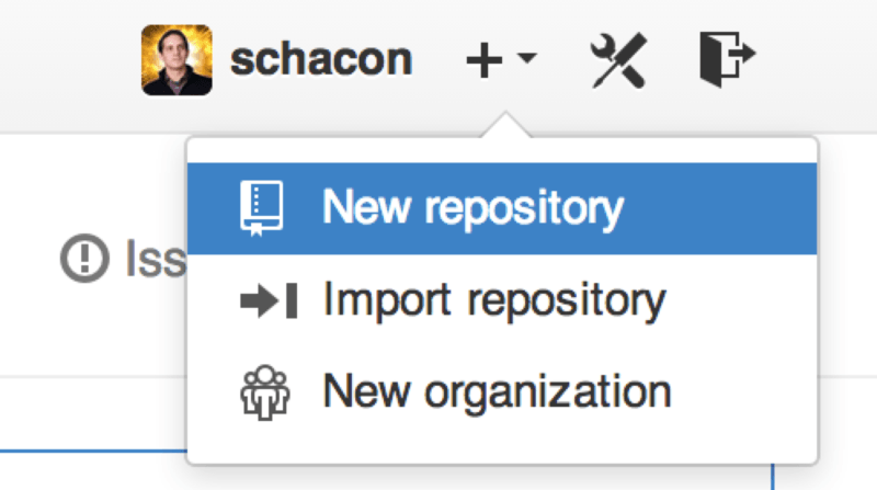 The ``new repository'' dropdown.